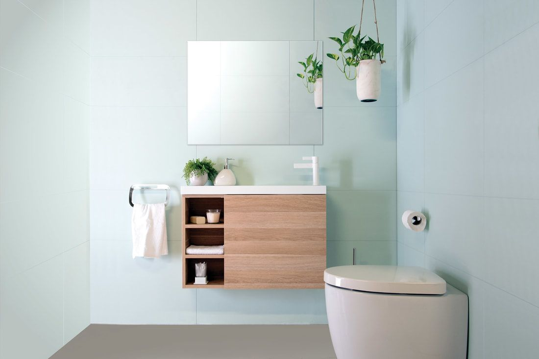 Petite // Small Spaces Bathroom Vanity. With open shelves & finger ...