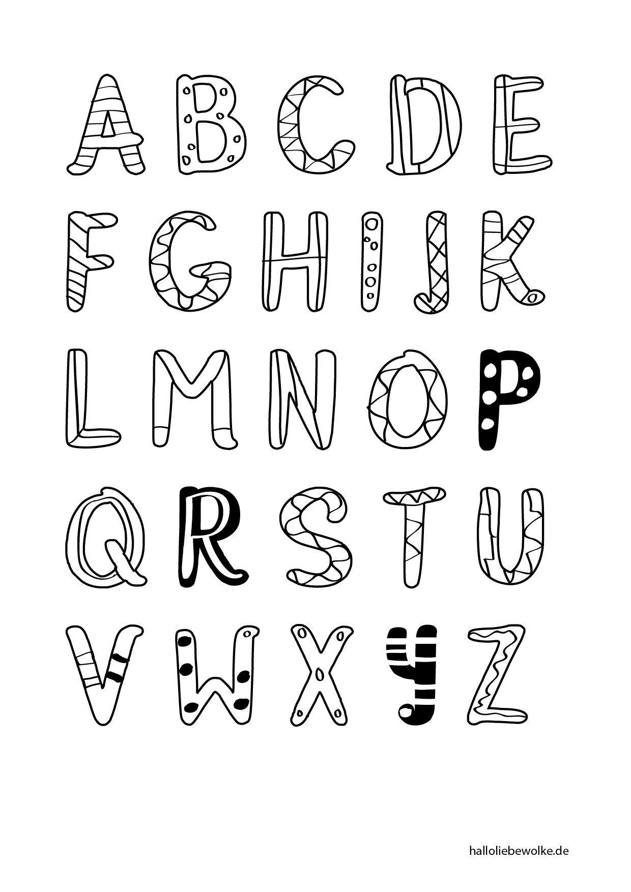 {Printable & Malvorlage} Buchstaben lernen - Hallo liebe