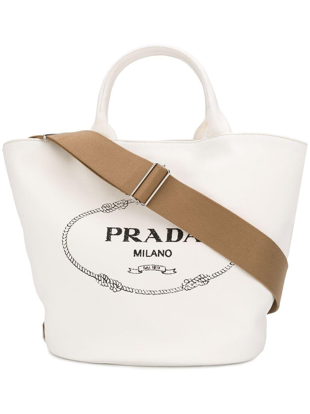 Prada front logo tote bag White in 2019 | Tote bag, Prada