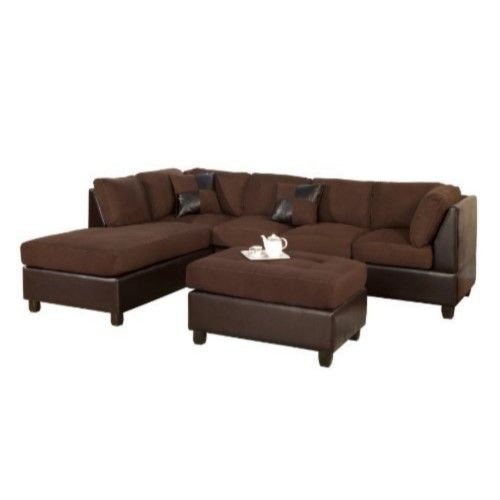3 Piece Reversible Fabric And Faux Leather Sectional Sofa Chocolate (Brown) Finish by HomeRoots is part of Chocolate Sectional Living Room - Comfortably Crafted Chocolate Sectional Sofa Has Been Wrapped And Covered In A Plush Microfiber Is A Great Combination Of Leatherette Fabric And Microfiber  This Collection Features Accents Pillows  Each Section Also Is Crafted Skillfully With An Expertise To Add A Real Modern Experience And Flavor  It Does Not Include Any Other Featured Product Other Than A Sectional Sofa  Sofa Dimensions78 X 34 X 35HIncludes One Sectional Sofa Only