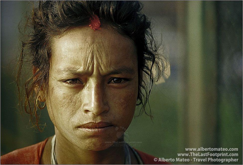Portrait of a worried Hindu woman, Bhaktapur, Kathmandu, Nepal.