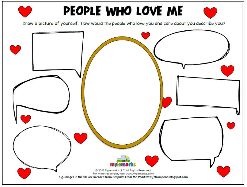 People Who Love Me Self esteem worksheets, Self esteem