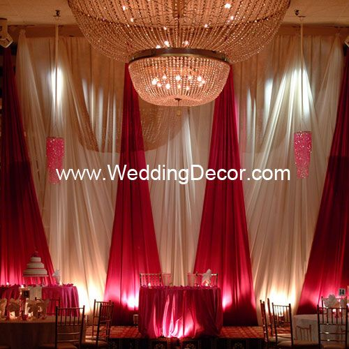 Wedding Backdrop A Line Ivory Blockout With Fuchsia And