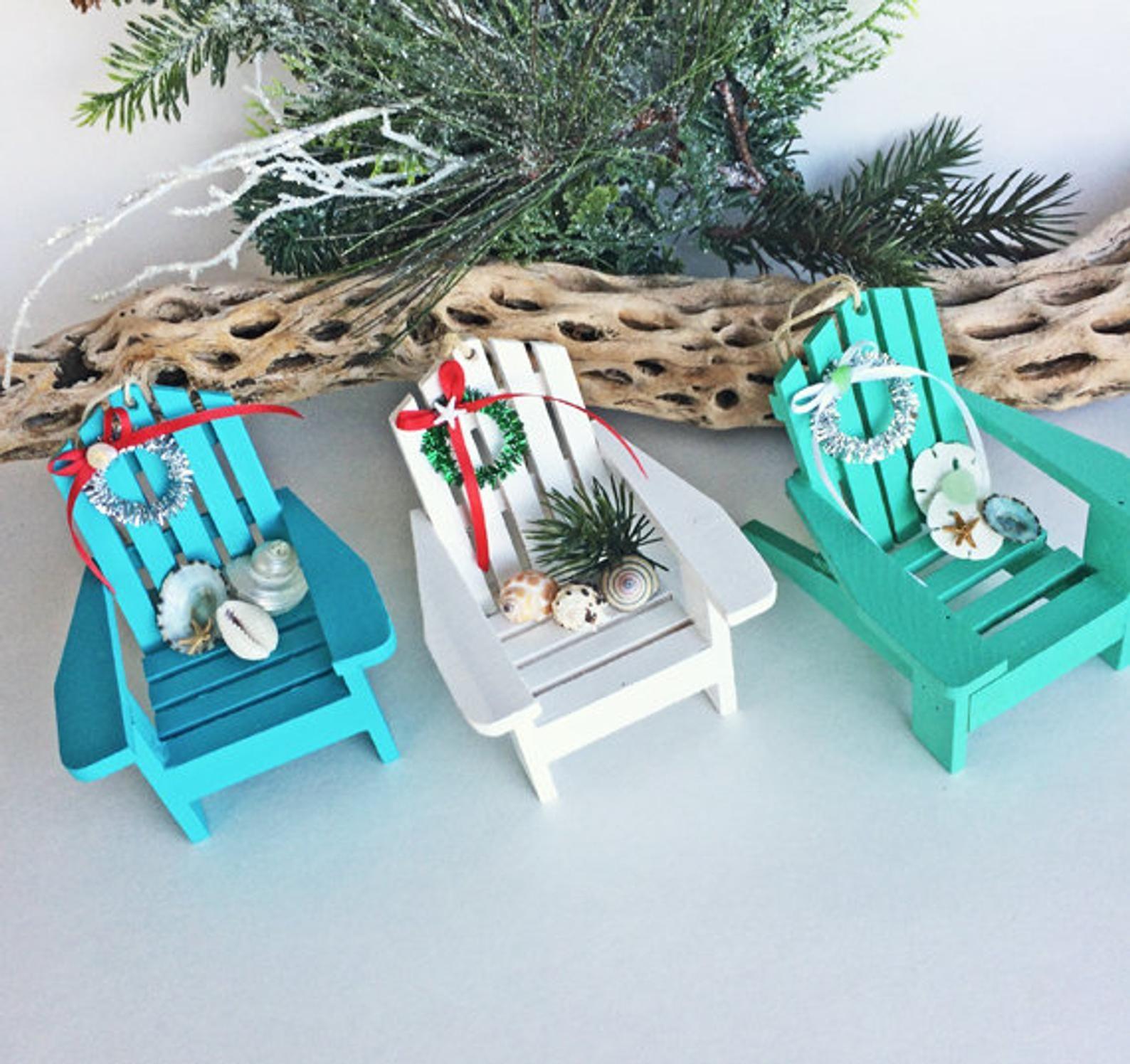 Beach Decor Christmas Ornament Mini Adirondack Chair Beach Chair