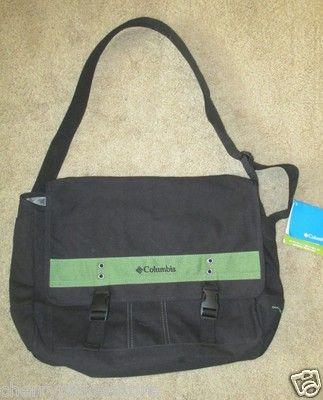 Columbia Omni Shield Messenge Book Bag New NWT Black Green