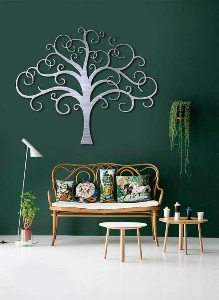 Interessante Zimmer Deko Grüne Wand Wandgestaltung Dekorativer Baum