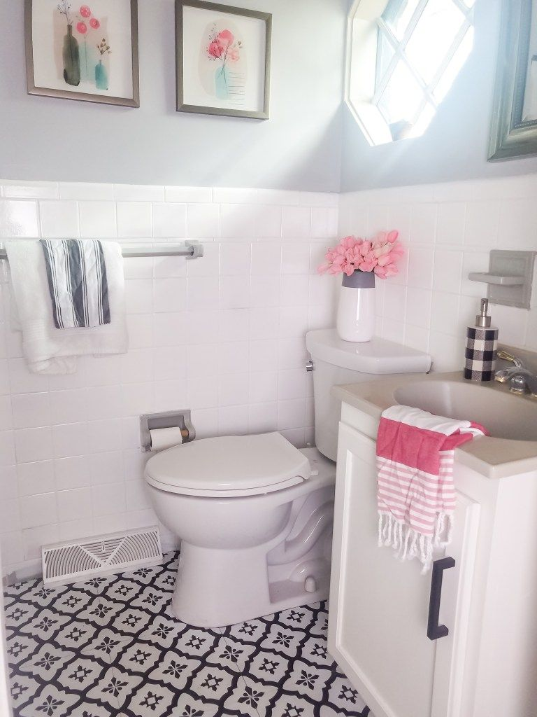 How Our Painted Bathroom Tile And Peel And Stick Tile Are Holding Up 8 Month Update Peony Street In 2020 Painting Over Tiles Bathroom Renovation Master Bathroom Renovation