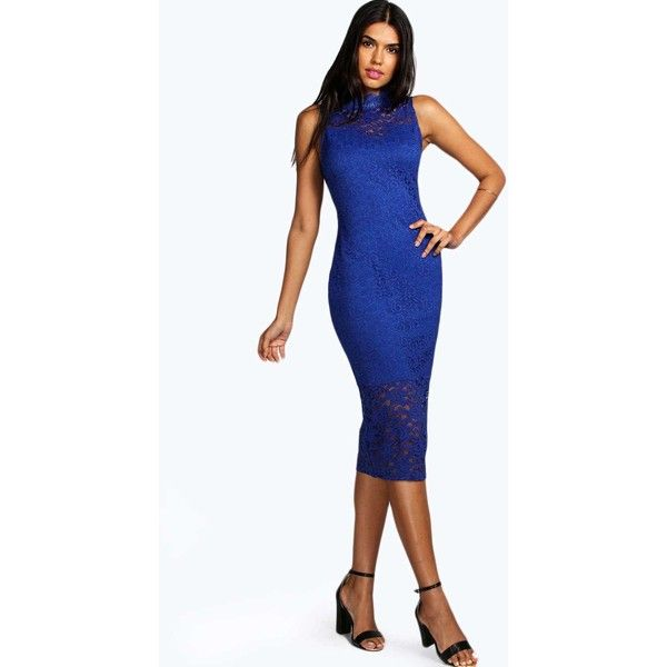 9976bb1d5c57 Boohoo Boutique Boutique Clare Lace High Neck Bodycon Midi Dress ($52) ❤  liked on