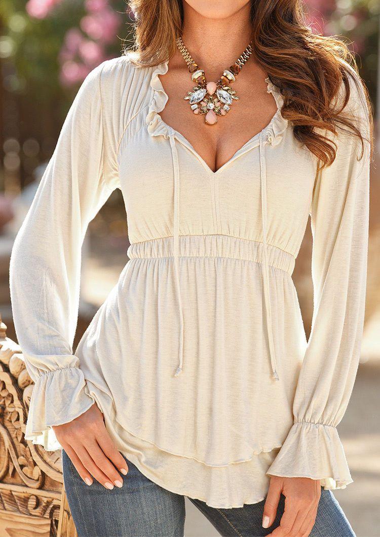 1b522b6be161bd Women Solid T-Shirt Long Sleeve Ruffled Double Deck Deep V-Neck Top ...