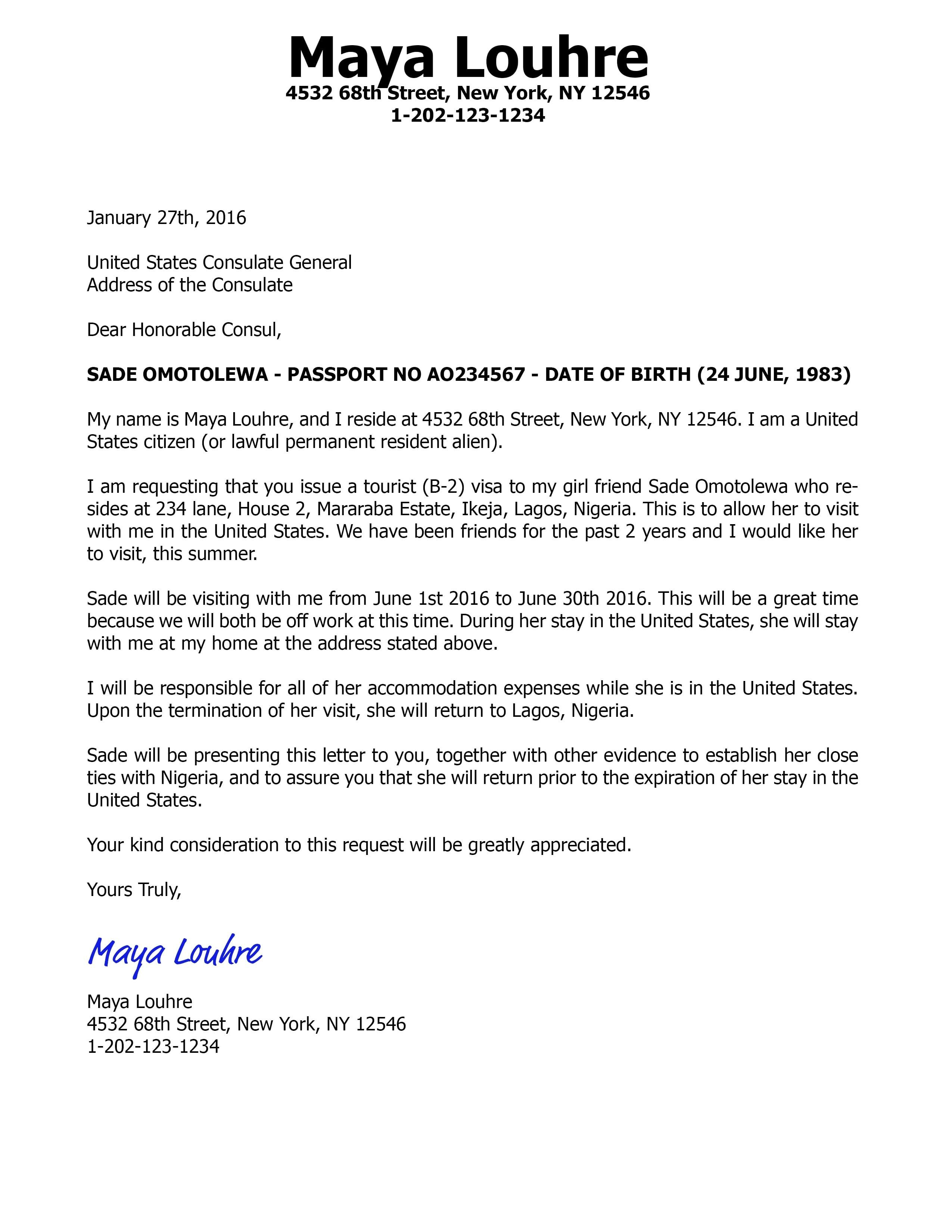 Invitations Letter For Visitor Visa Friend Sample of