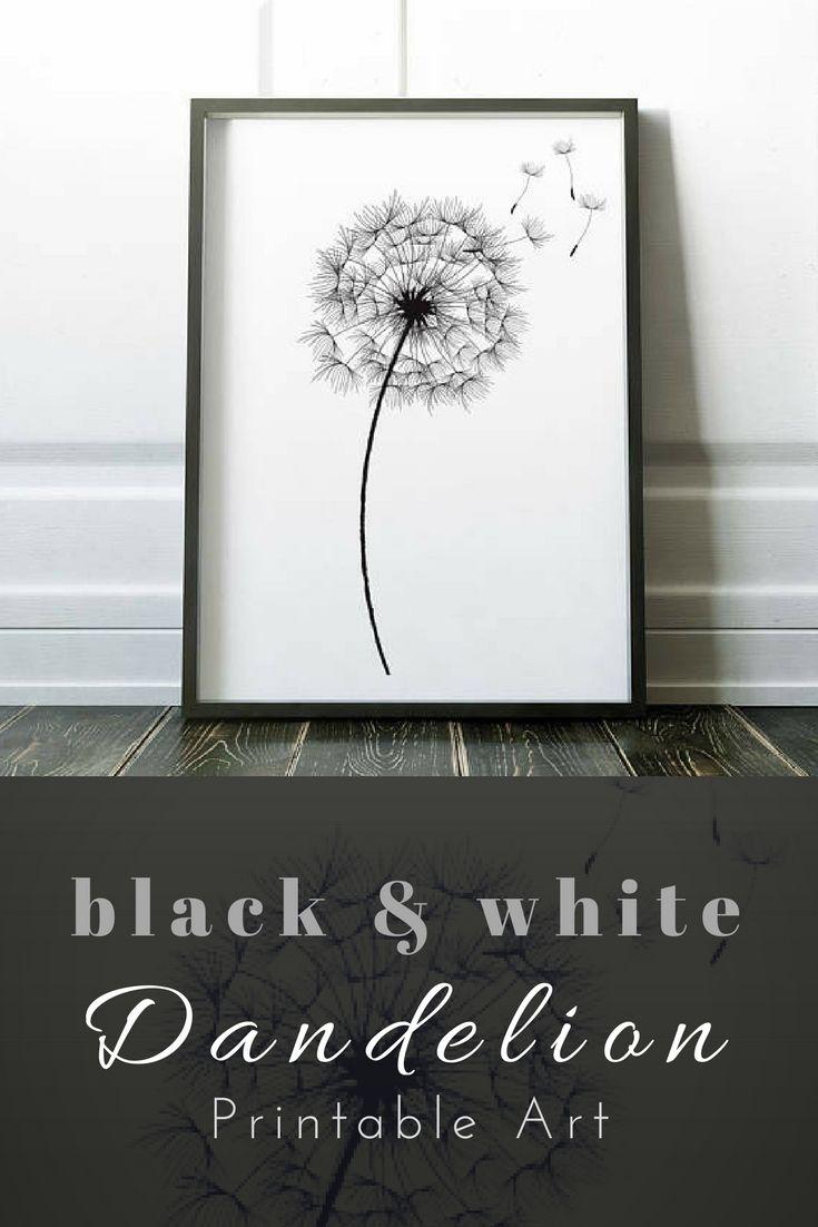 Dandelion print wall art print black white print flower wall