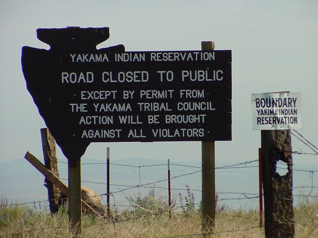 Photo of Yakama Indian Reservation sign post