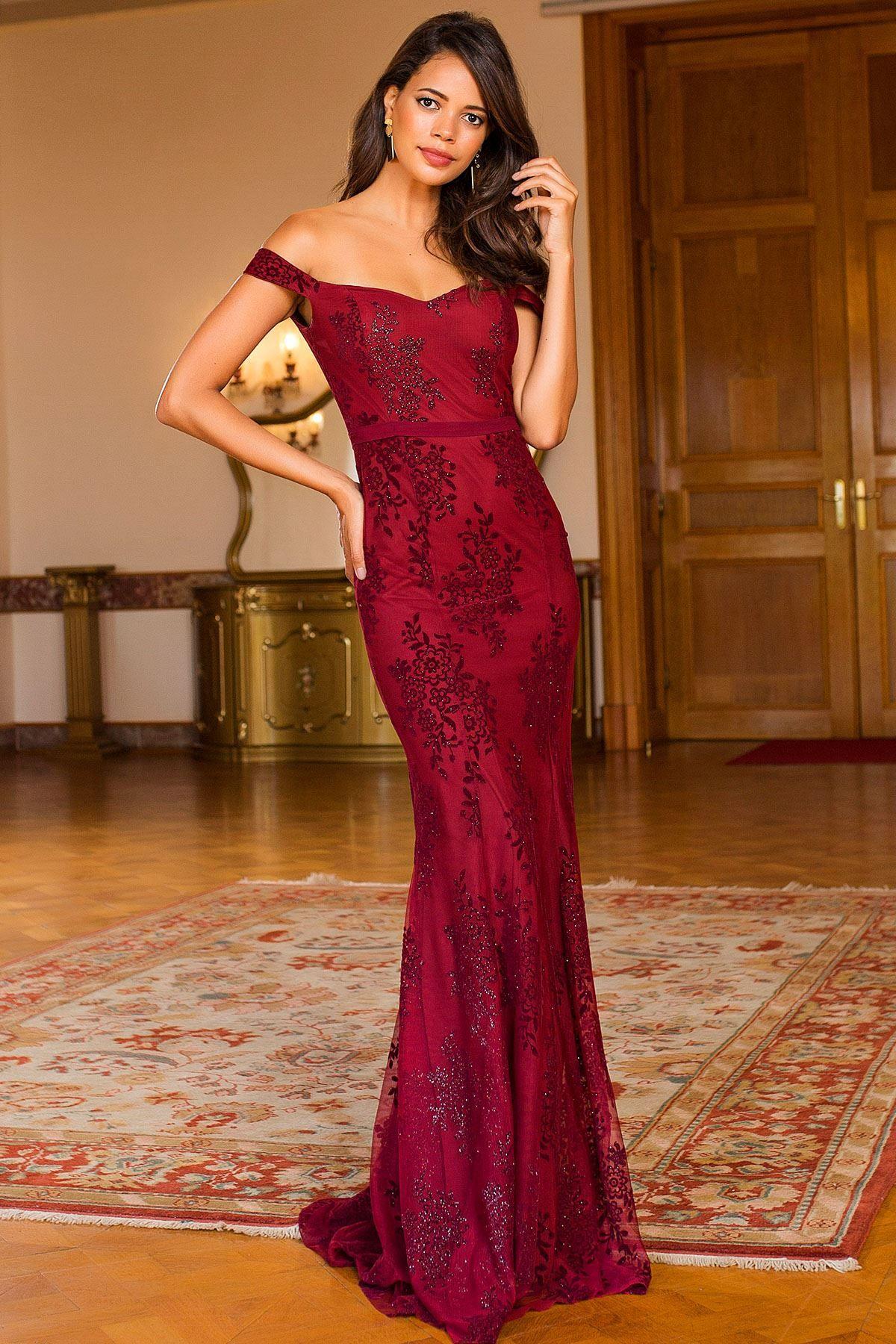 فستان سهرة مطرز لون خمري Chic Hanim