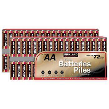 Kirkland Signature Aa Alkaline Batteries Two 72 Pack Kirklands Alkaline Battery Batteries