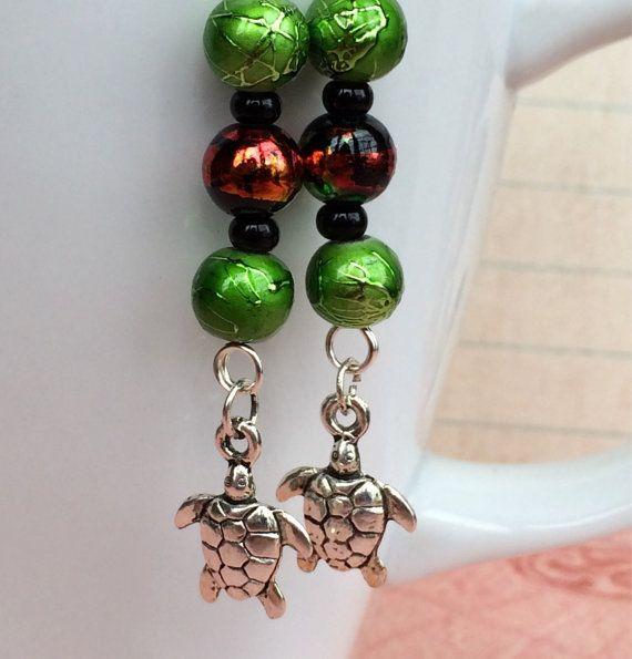 Turtle charm dangle earrings by OnTheWireByMaryJane on Etsy, $15.00