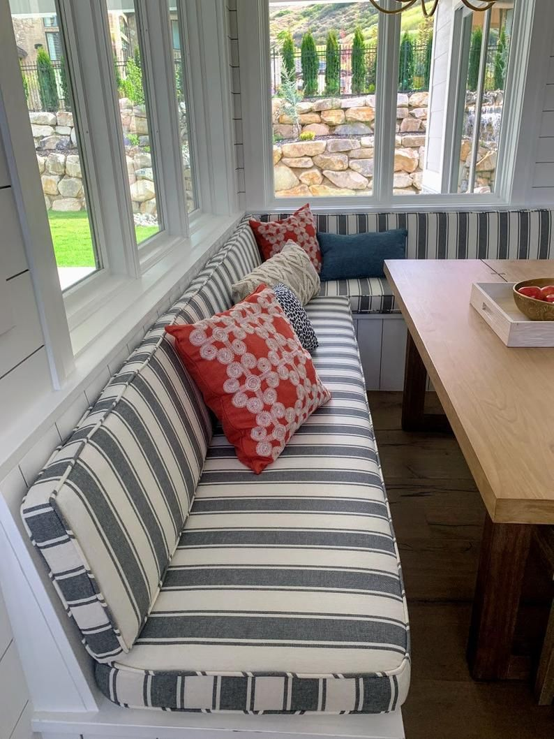 Kitchen Dining Cushions with Seat and Back, Banquette Cushions, Kitchen Nook Cushions