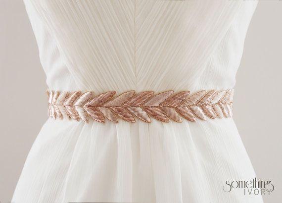 Hanabi In Rose Gold Metallic Bullion Embroidered Bridal Belt