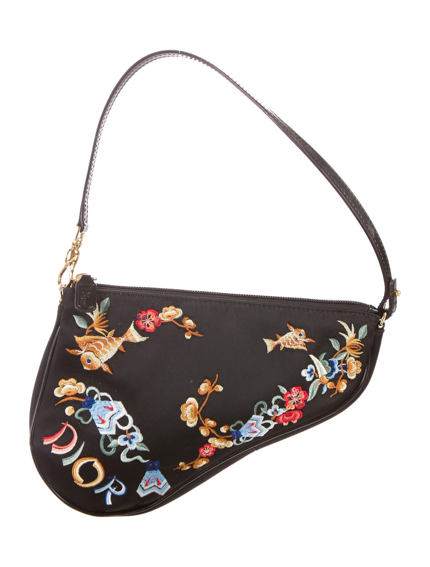2f2f044237 Black and multicolor Christian small Saddle bag with floral and fish  embroidery throughout