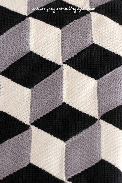 Ein Schweizer Garten: Vasarely Pattern - die neue 3D-Häkeldecke ...