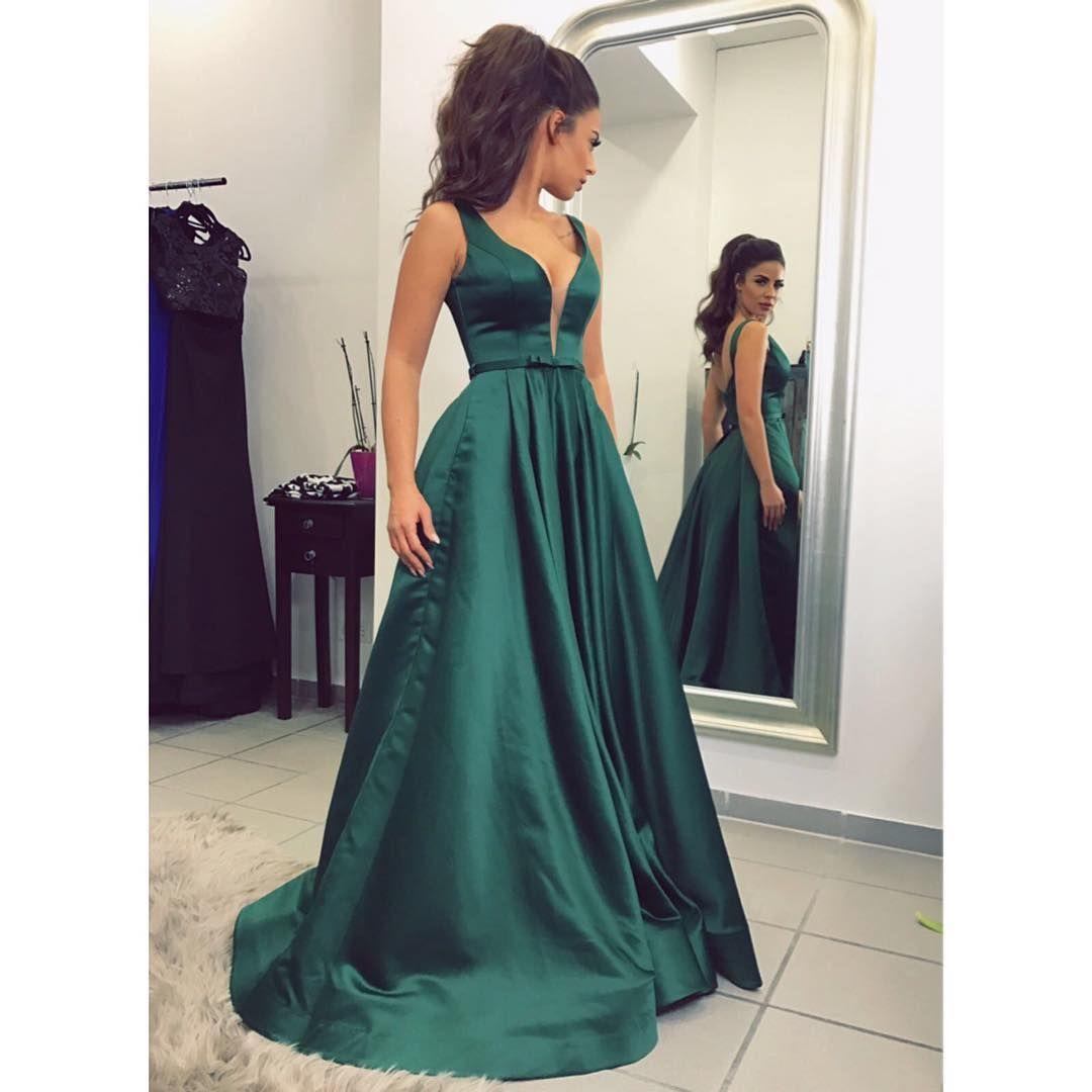 Dark green prom dresslong prom dressesprom dressesevening dress