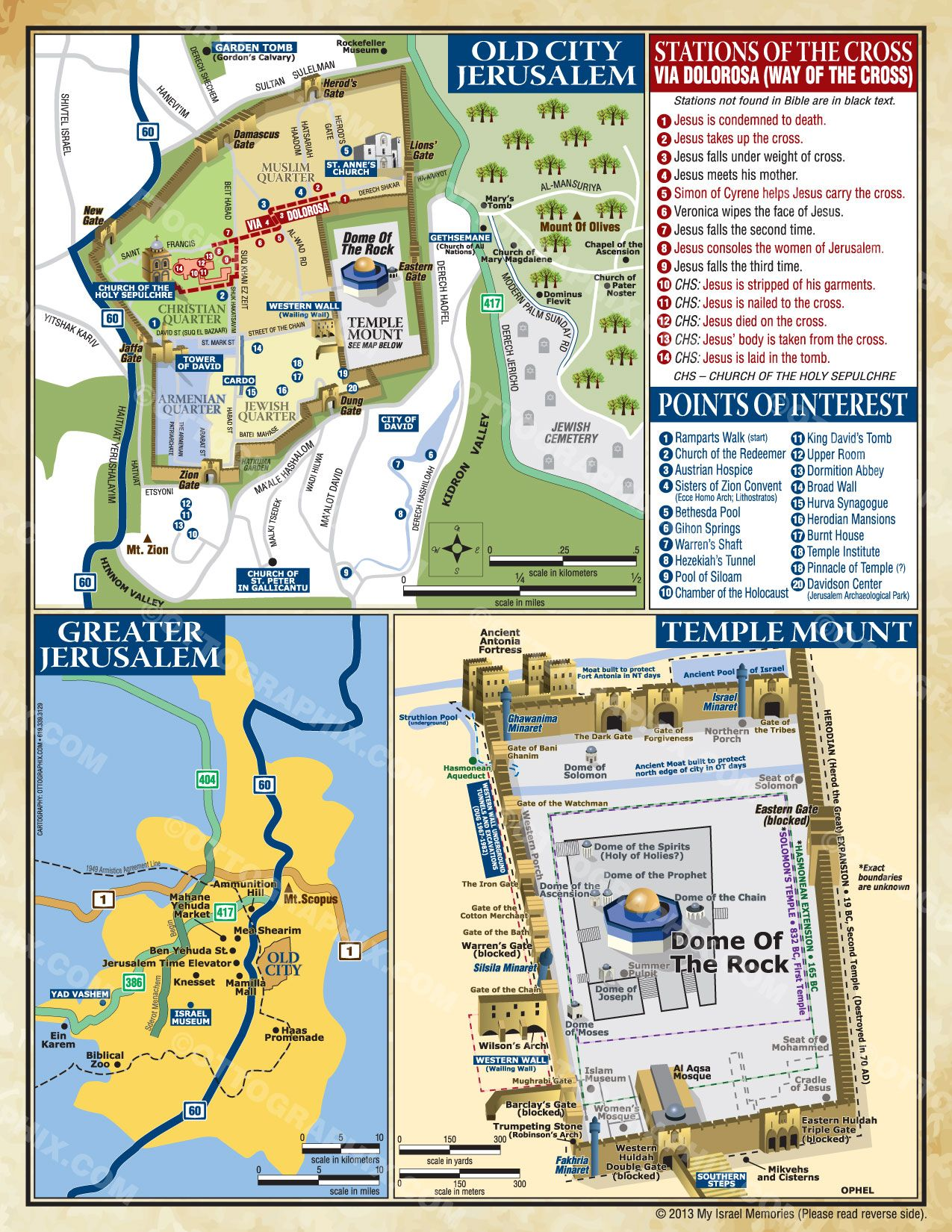 Israel, Old Town Jerusalem and Temple Mount maps   Cartography-Map ...