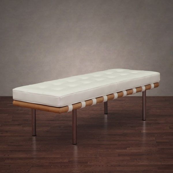 Andalucia Modern White Leather Bench 50 Inches Long Overstock