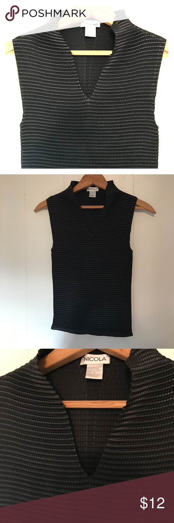 V-neck short sleeve top Chic top. Excellent condition. Perfect for layering as a camisole or on its own. This has a nice ripple design and sheen to the shirt. 100% polyester Nicola Tops