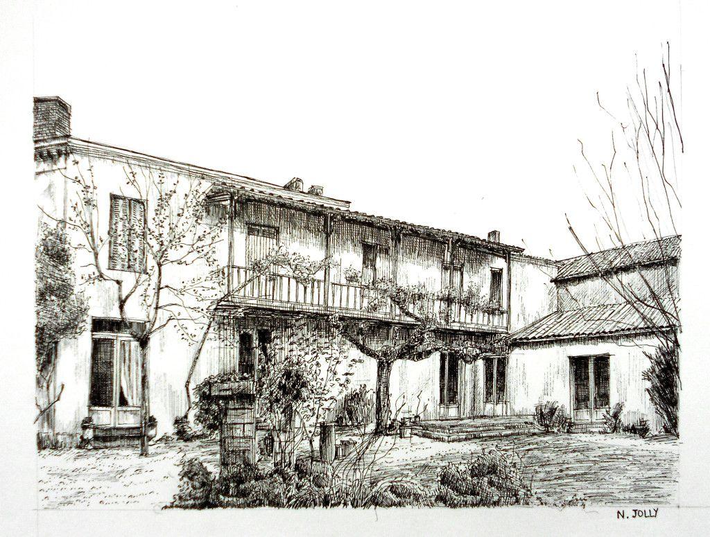 Dessin encre de chine black ink drawing maison girondine