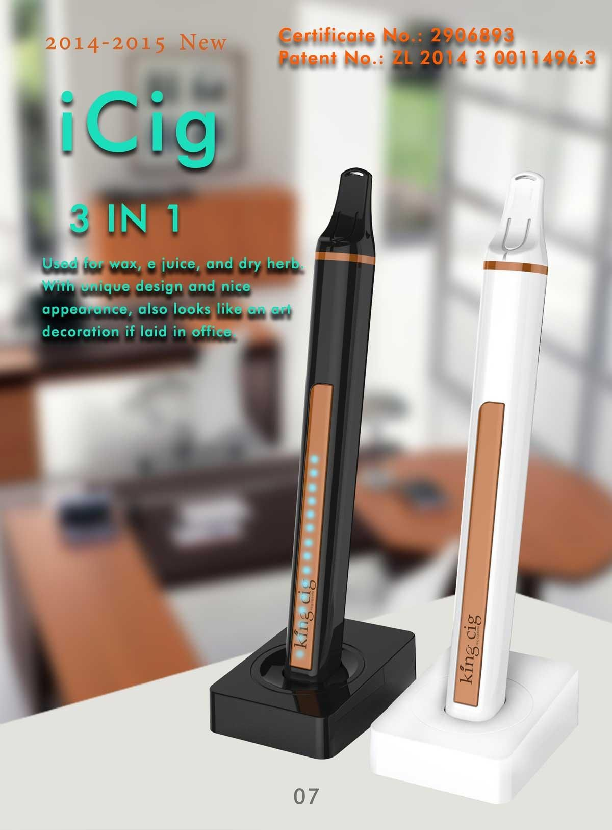 New ecigs iCig 3in1 vaporizer for e juice/wax/dry herb
