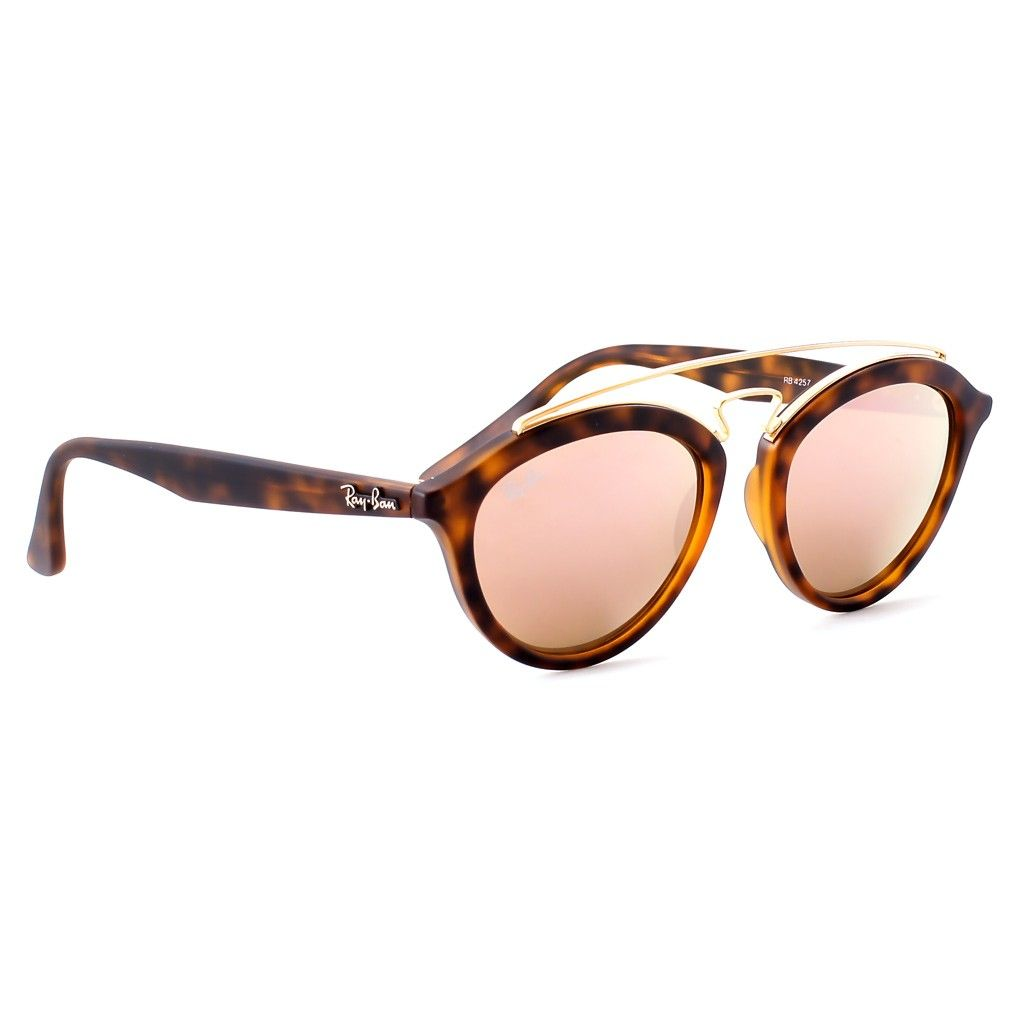 Ray-Ban New Gatsby RB 4257 6092 2Y Matt Brown Tortoise Gold Rose Gold Mirror 3c1bcb26b11b