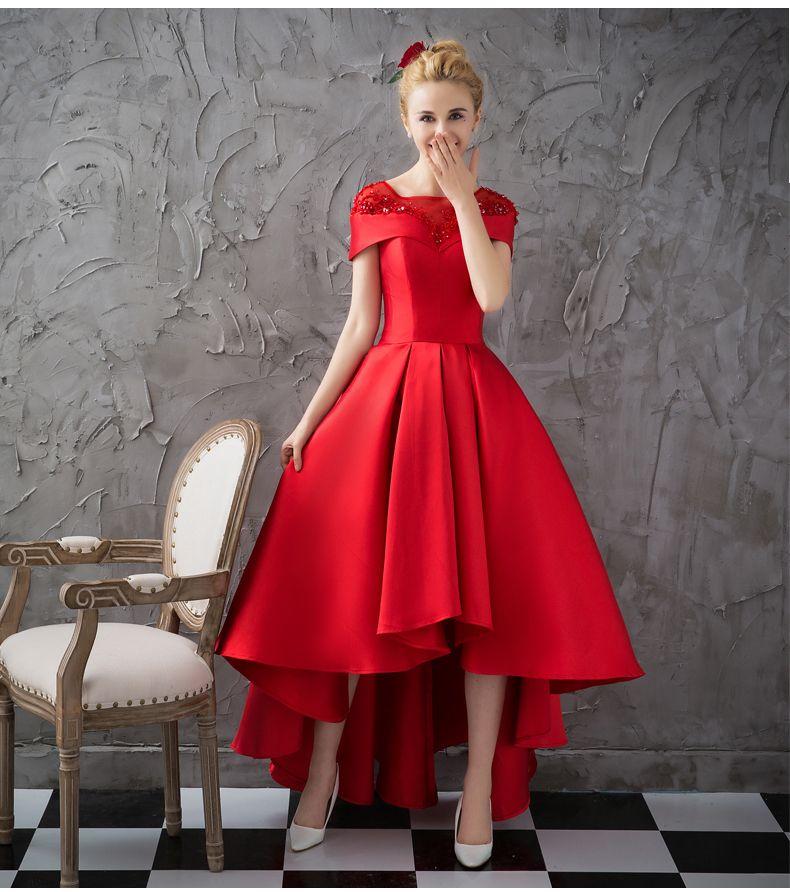 Asymmetrical Short Sleeve Satin Ball Gown Evening Dress Uniqistic Com Red Evening Dress Ball Gowns Evening Evening Dresses With Sleeves