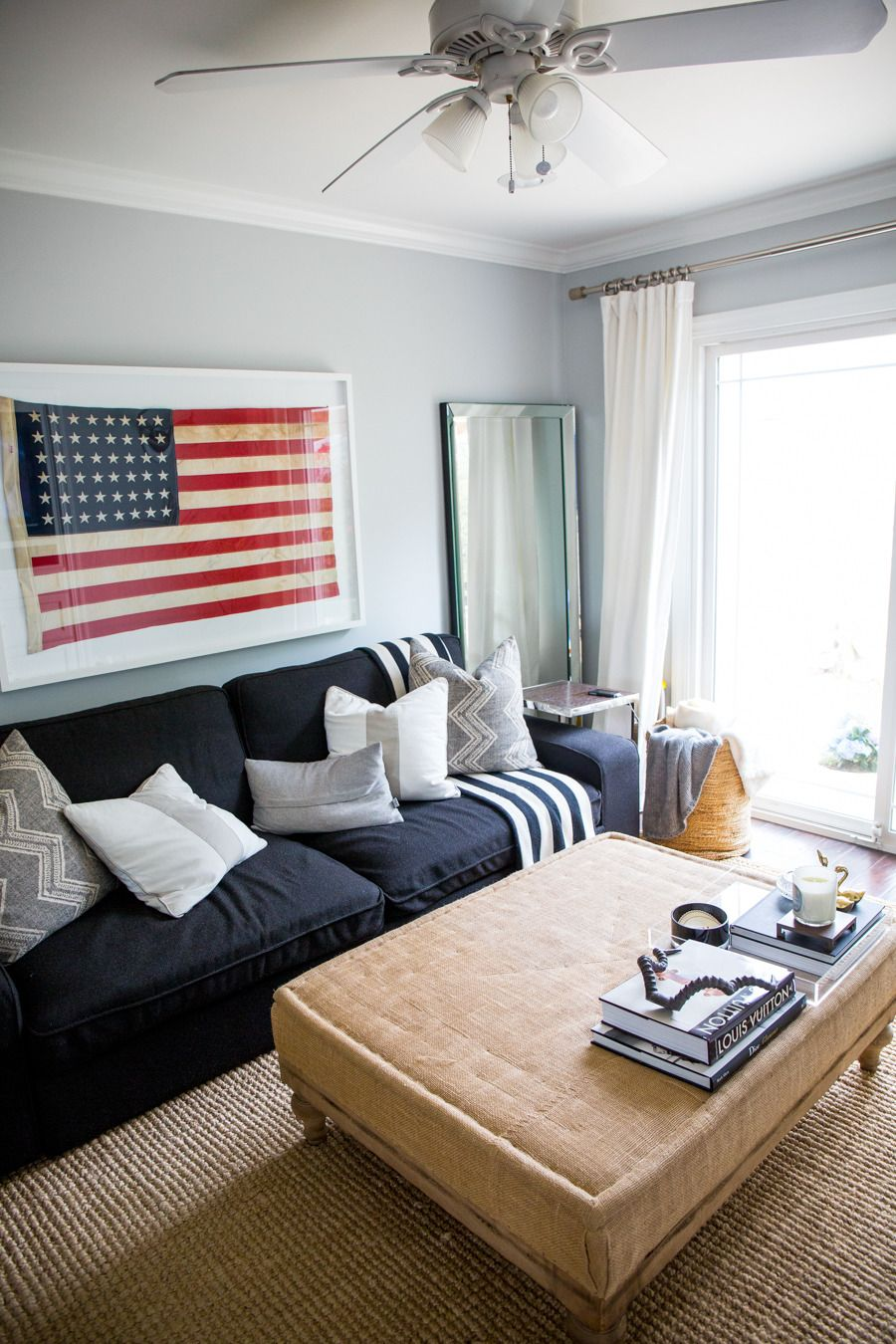 Chic Los Angeles Bungalow | Pinterest | Framed american flag, Room ...