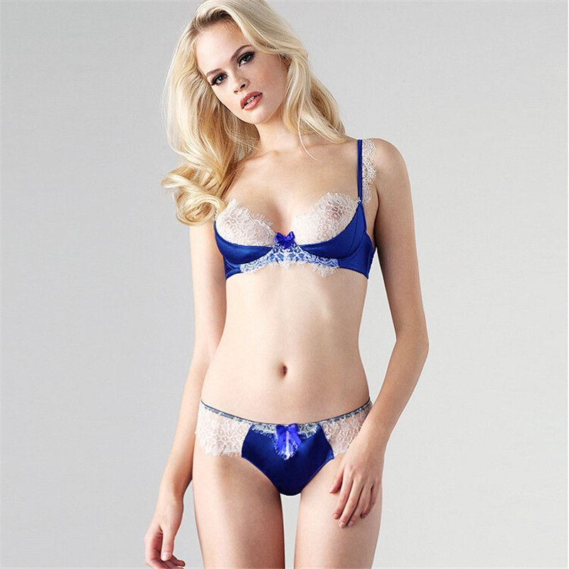 Women Ultrathin Sexy Lace Patchwork Classy Silk Sheer Bra And ...