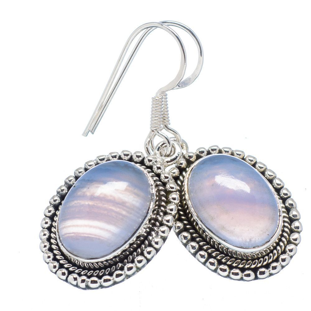 """Blue Lace Agate 925 Sterling Silver Earrings 1 1/2"""" EARR320136"""