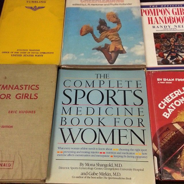 Come get a vintage peek at the past. Different views from another time, but classic info & tips!  #gymnastics #cheerleading #twirling #baton #tumbling #pompon #pompom #forgirls #forwomen #navy  (at Bonnett's Book Store)