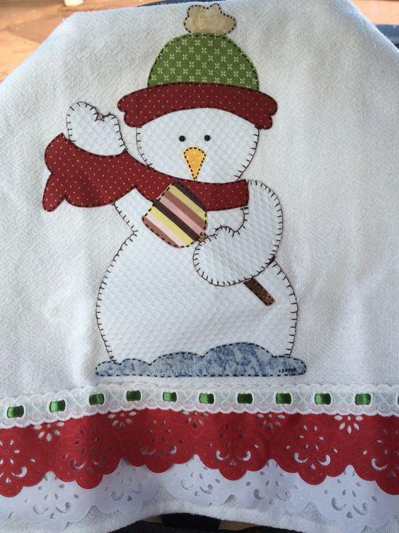 Dicas de Pano de Prato de Natal com Patchwork | Delantares y ...