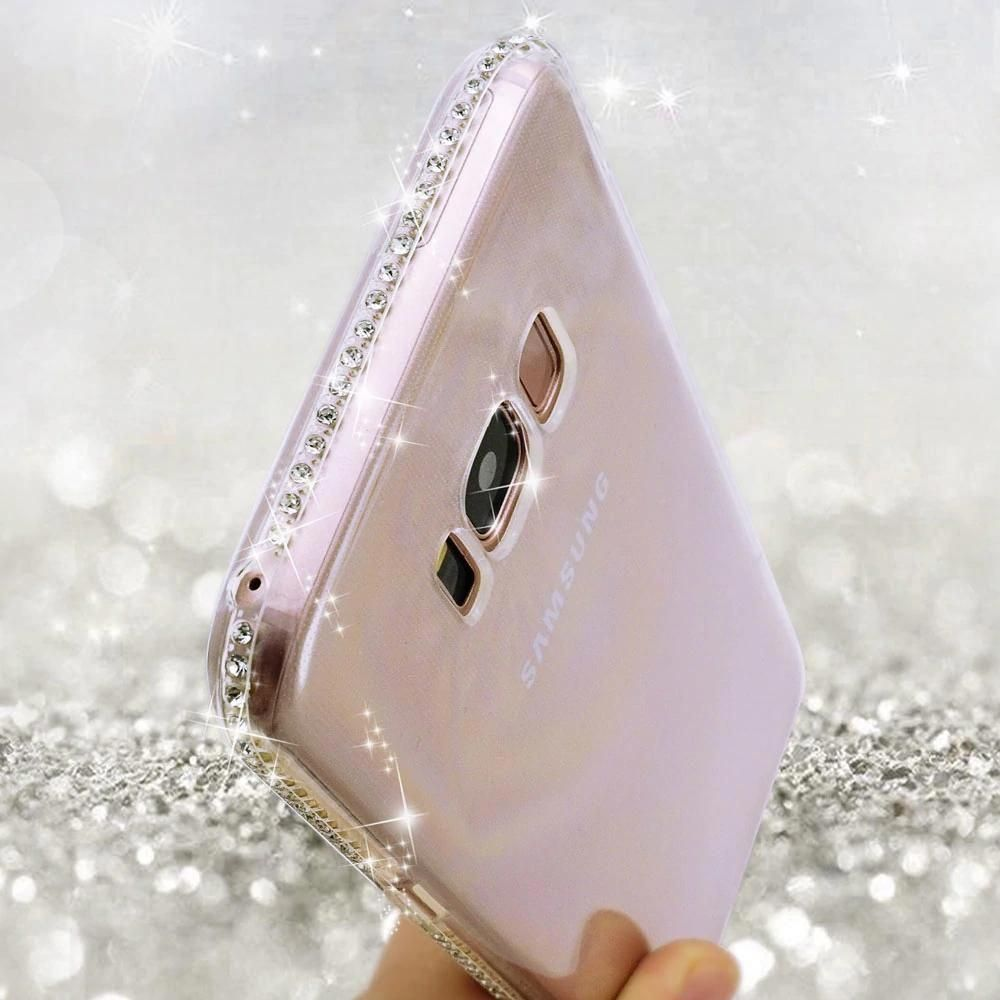 7860a4495d3 Rhinestone Bling Glitter Case For Samsung Galaxy S8 Plus Note 4 5 S6 S7 edge  A3 A5 2017 A7 J3 J5 2016 J7 S9 Silicone Cover  samsungphones