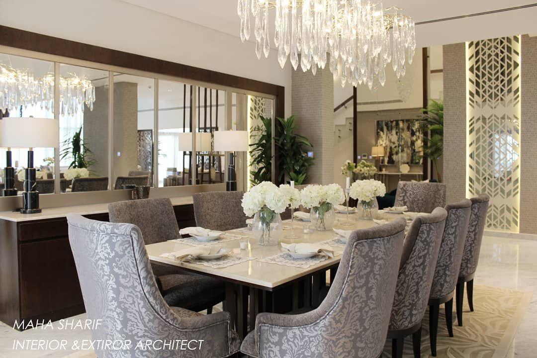 Maha Sharif On Instagram تصميم وتنفيذ طاولة طعام مع البوفيه استخدمت المرايا على جدار البوفيه لتعكس الاكسسوارات والث Interior Design Dining Table Home Decor