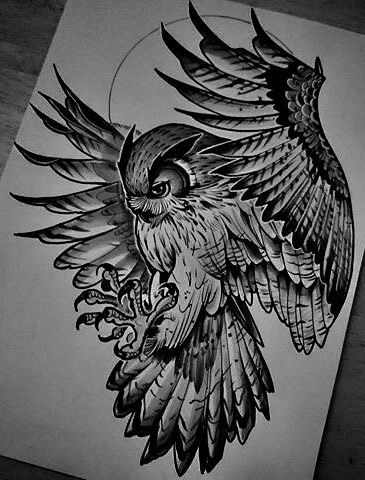 Guardian Owl Tattoo On Right Abs