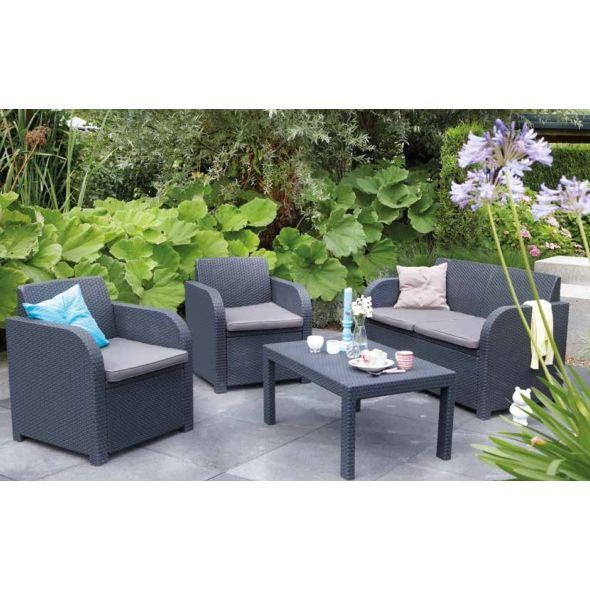 Color antracita cojines de color gris set de jardin y - Cojines para sofas de jardin ...