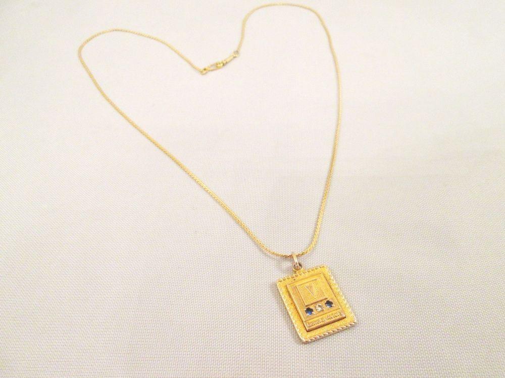 12k Gf Diamond Sapphire General Motors 35 Yr Trans Am Service Pendant Necklace Pendant Necklace Pendant Necklace