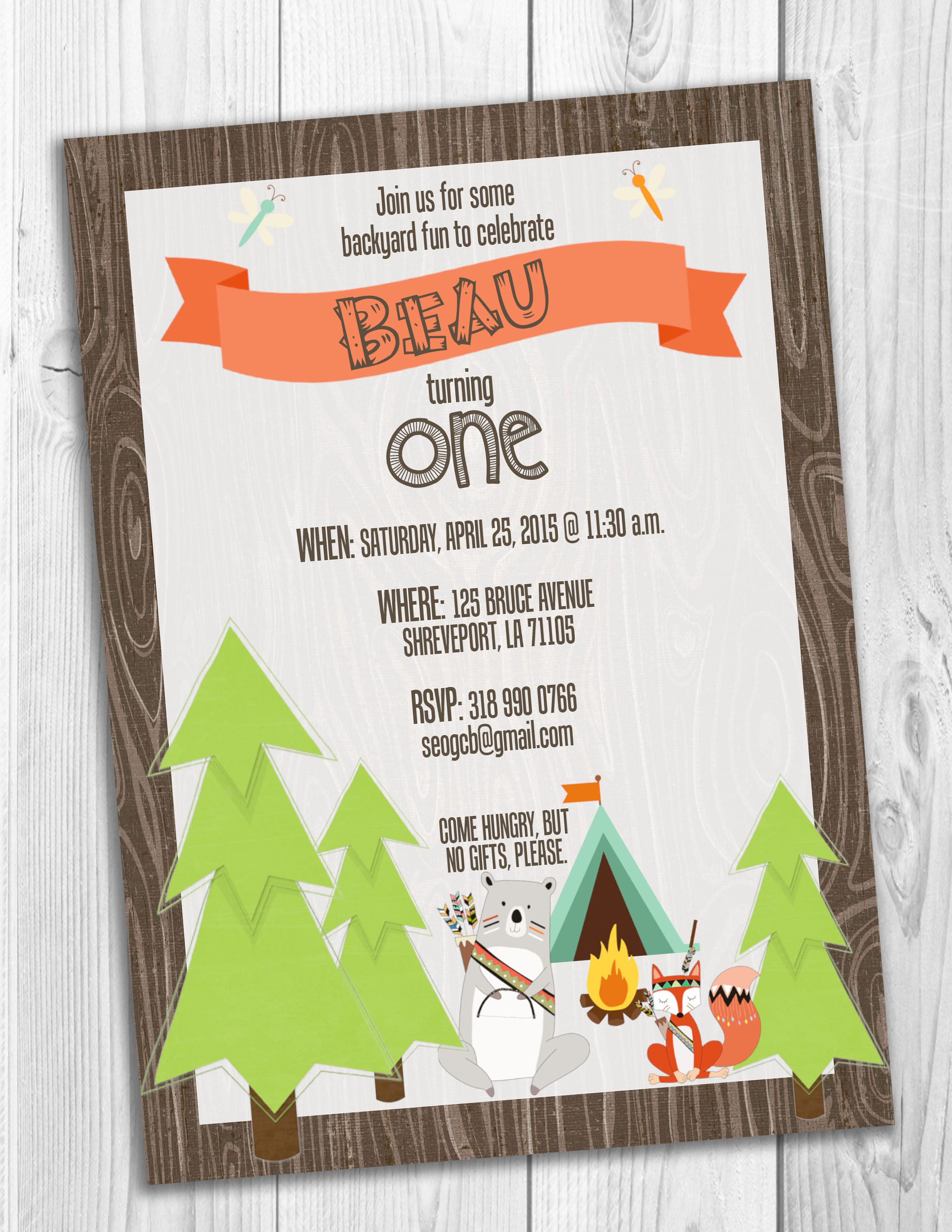 Woodland Camping Birthday Party Invitation | Invitations | Pinterest ...