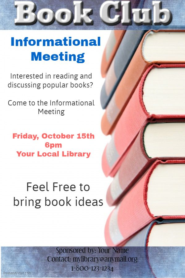 Book Club Meeting Poster Template Organization and Club Poster