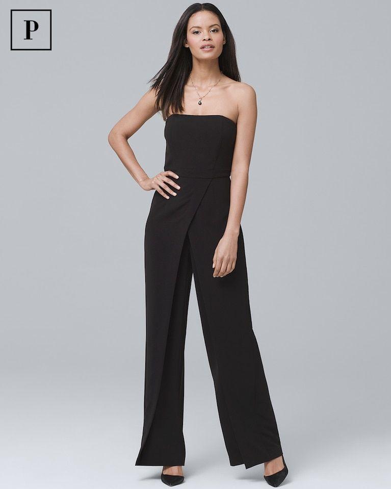 8040e6cae040 Women's Petite Convertible Black Strapless Split-Leg Jumpsuit by White  House Black Market