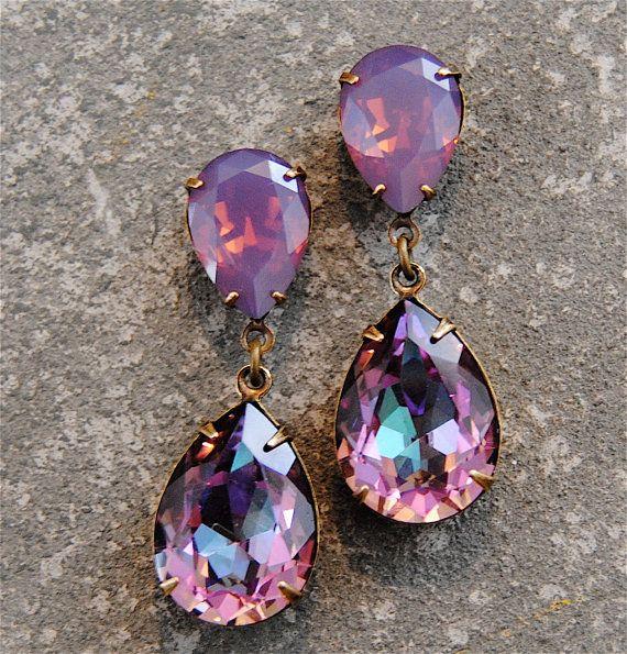 Lavender Raspberry Purple Opal Earrings Swarovski Crystal