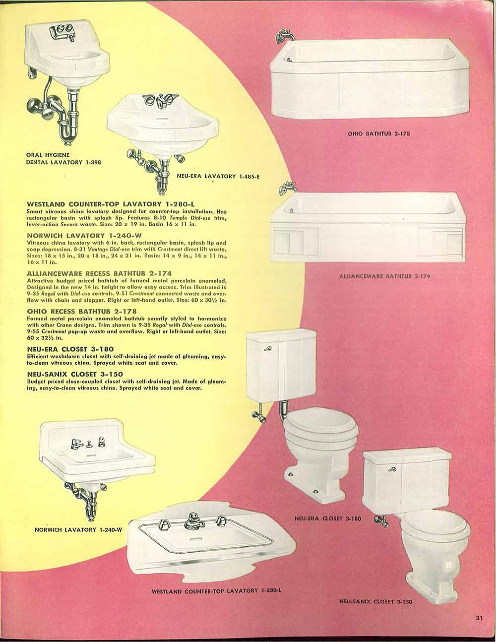 Photo of 24 pages of vintage bathroom design ideas from Crane – 1949 catalog – Retro Renovation