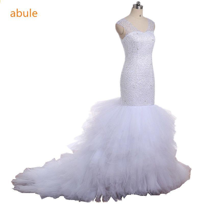 94b9d93c76bc abule bröllopsklänning långa tåg 2017 afrikansk vit pärlstav tiered v-hals  anpassad brudklänning plus storlek vestido de noiva