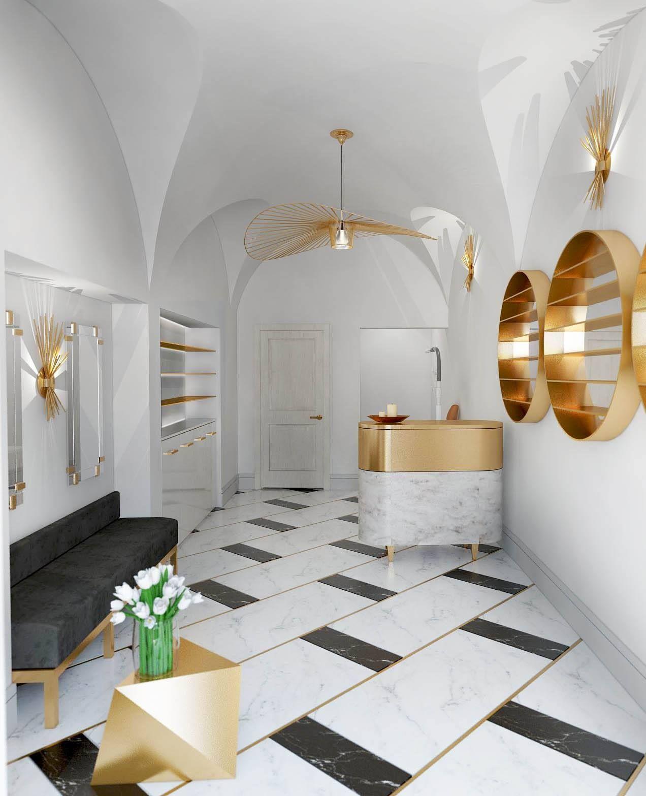 Gold Accents Black White Floor Design Luxury Marble Flooring Luxury Flooring