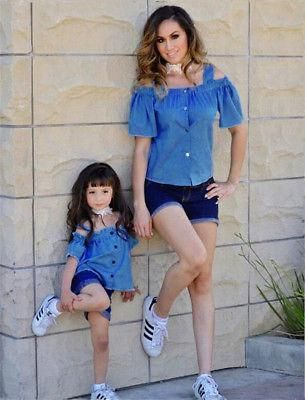 c10cb5ff2f 2 Piece Mom Daughter Matching Off Shoulder Denim Top   Shorts. Mom Daughter  Family Matching Clothes Set Women Baby Girls Kids Outfits