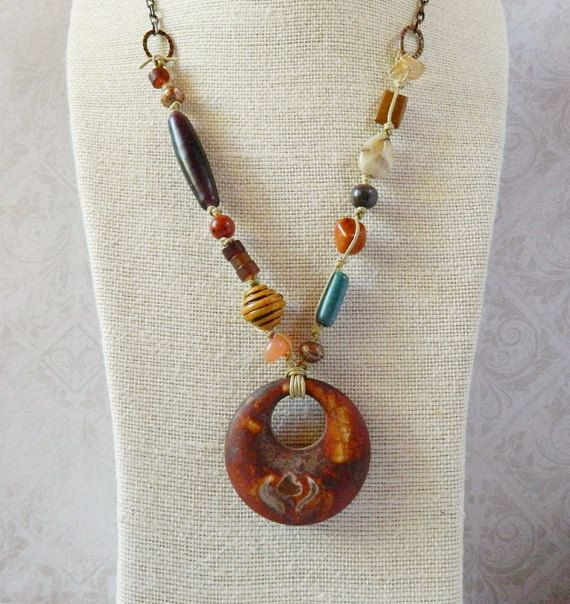 Rustic Bohemian Stone Necklace Burnt Rust Clay by MsBsDesigns